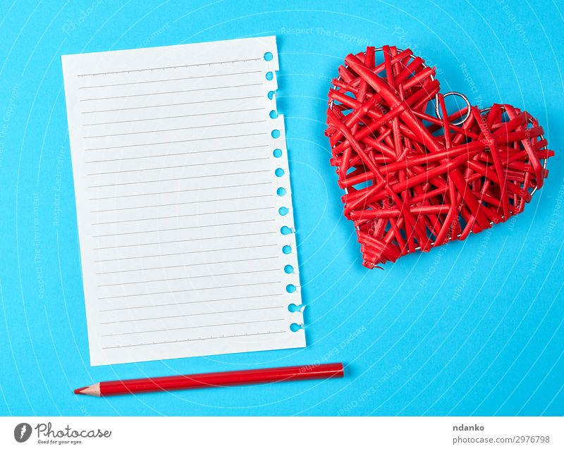 wooden wicker red heart and an empty white sheet Design Beautiful Decoration Table Feasts & Celebrations Valentine's Day Wedding Office Business Paper Pen Wood