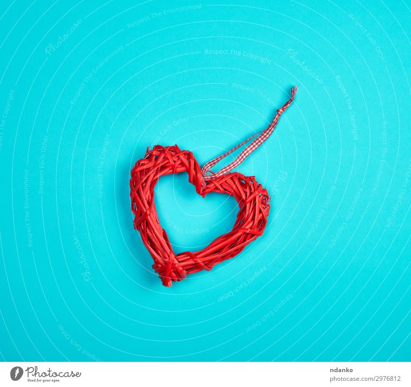 wicker red heart on a blue background Design Beautiful Decoration Feasts & Celebrations Wedding Wood Heart Love Blue Red Romance Colour Conceptual design
