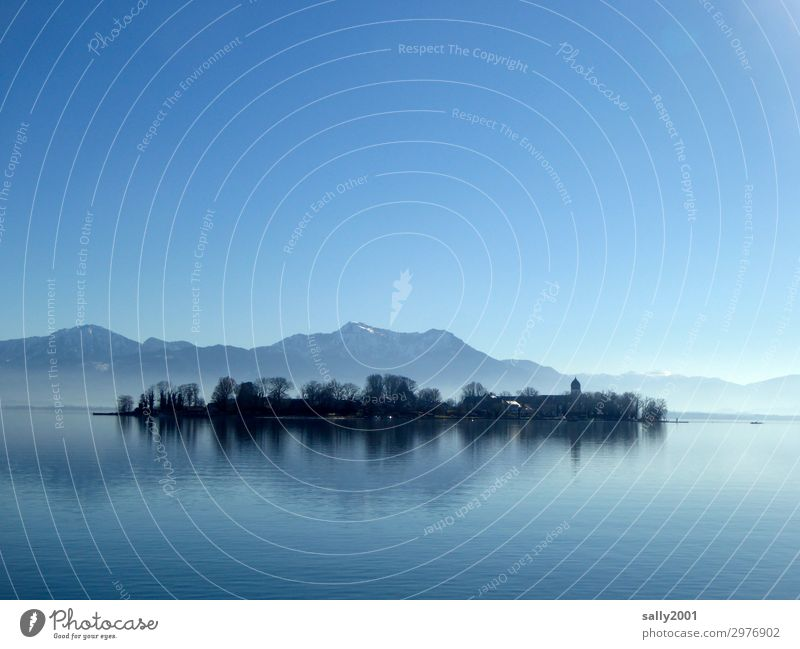 The lake rests still... Nature Landscape Cloudless sky Sunlight Winter Beautiful weather Mountain Alps Island Fraueninsel Lake Lake Chiemsee Exceptional