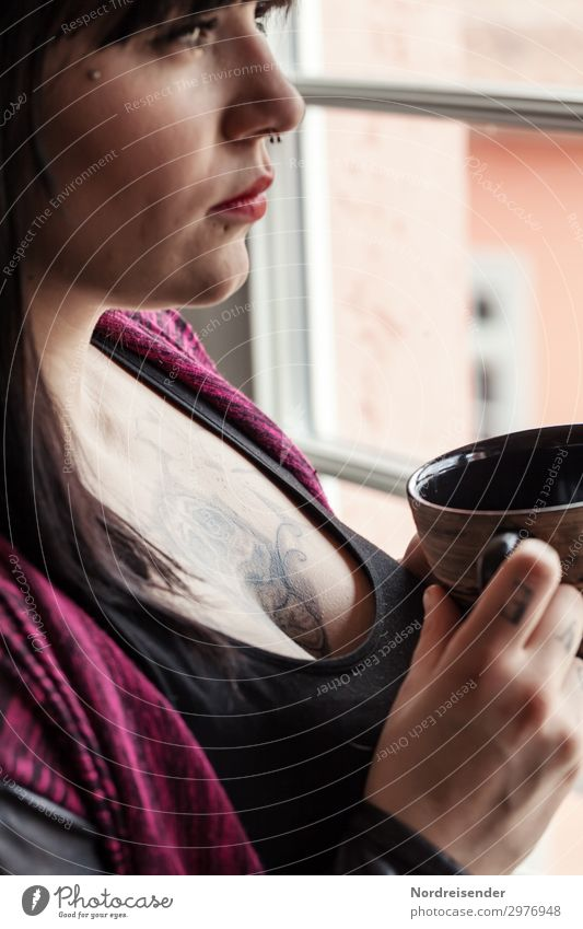 At the window Drinking Hot drink Coffee Tea Cup Senses Room Closing time Human being Feminine Young woman Youth (Young adults) 1 Window Tattoo Piercing Observe