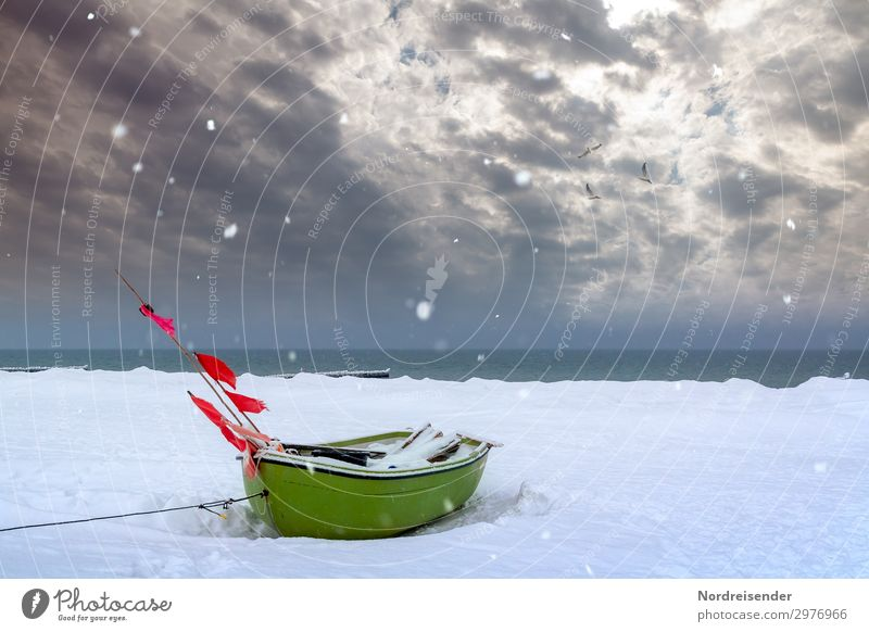 Fishing boat on the Darß in winter Vacation & Travel Tourism Beach Ocean Winter Snow Winter vacation Christmas & Advent New Year's Eve Elements Water Clouds Ice
