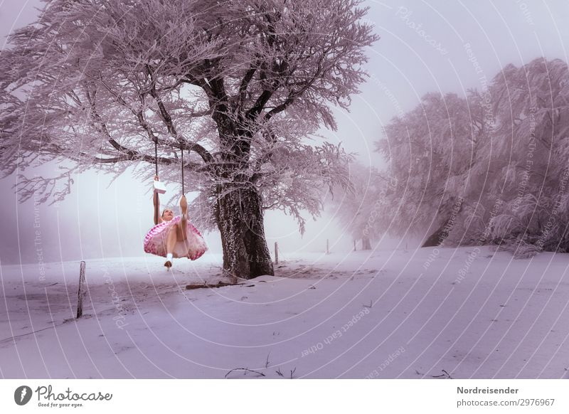 dreamland Lifestyle Joy Senses Feminine Woman Adults Landscape Winter Bad weather Fog Ice Frost Tree Dress To swing Dream Exceptional Cold Crazy