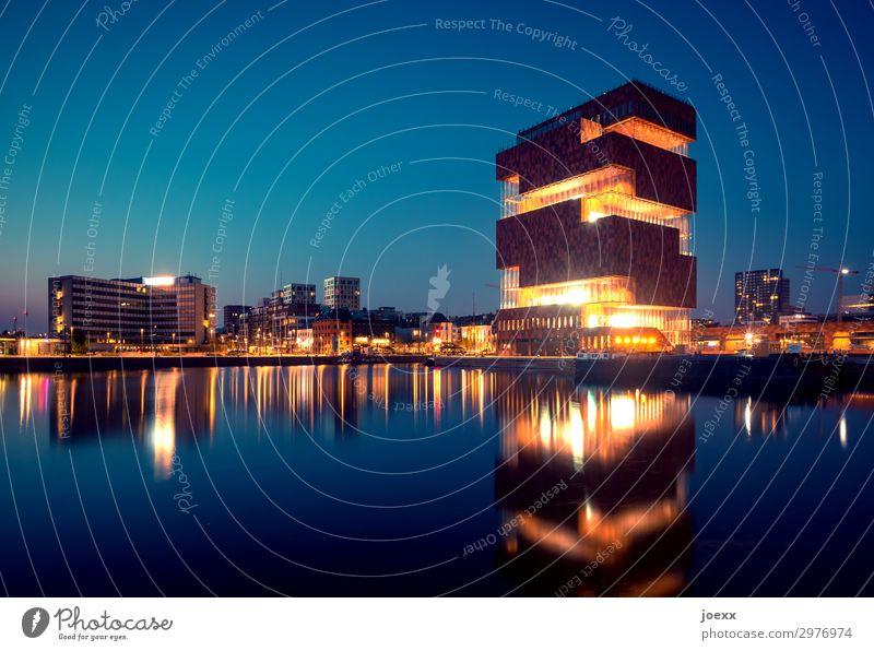 MAS Sky Antwerp Port City Building Architecture Museum Tourist Attraction Hip & trendy Tall Beautiful Town Blue Brown Orange Black Colour photo Multicoloured