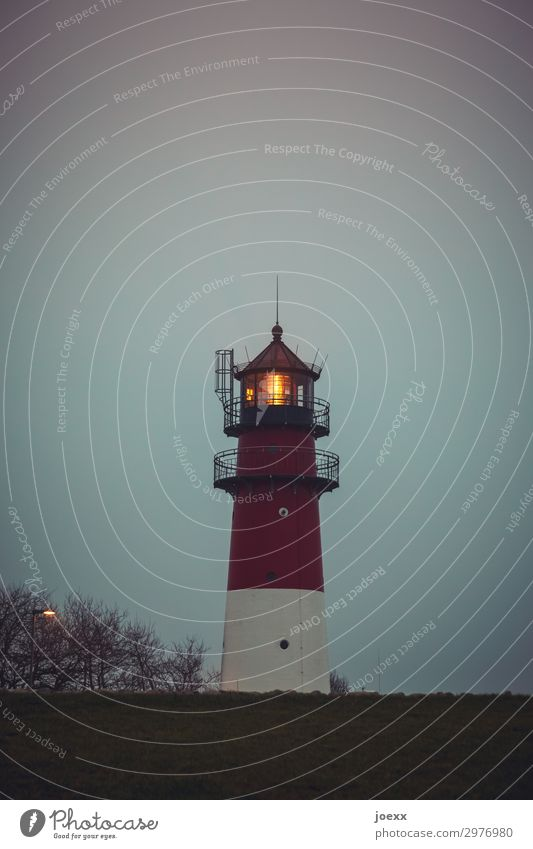 nightlight Sky Autumn bunch Lighthouse Old Historic Maritime Orange Red White Longing Homesickness Wanderlust Idyll Protection Dark Colour photo Subdued colour