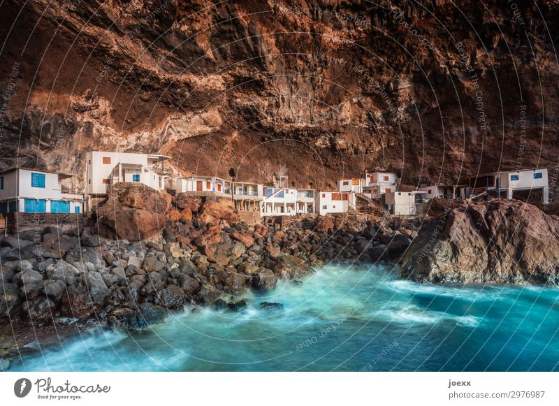 Pirate Cove Rock Waves Ocean Island La Palma Bay Tijarafe Spain Deserted House (Residential Structure) Hut Old Maritime Blue Brown White Bizarre Chaos