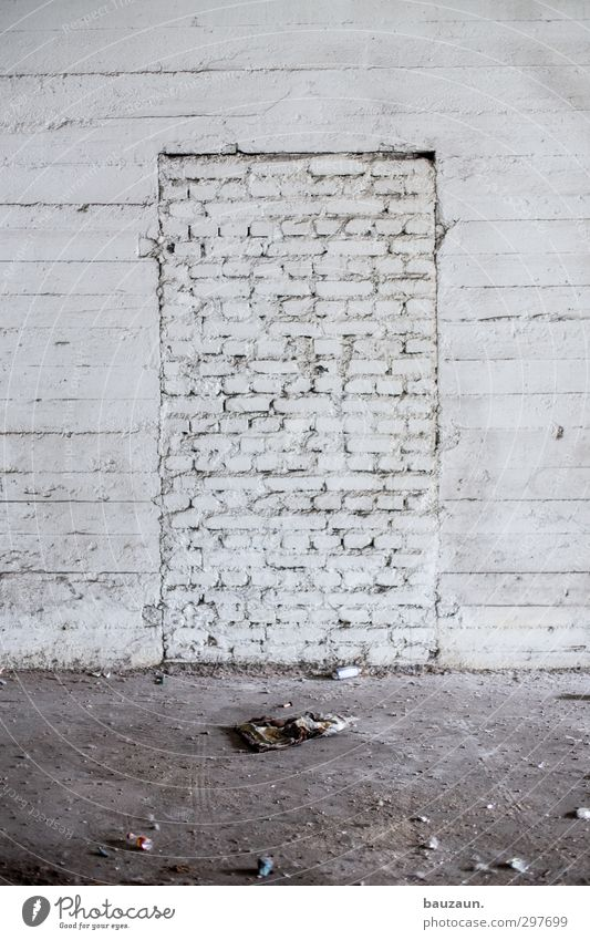 White Wall (building) Wall (barrier) Gray Stone Facade Door Power Dirty Concrete Gloomy Construction site Curiosity Factory Craft (trade) Chaos