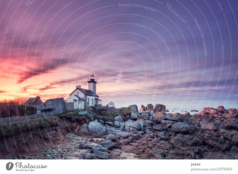 House with small lighthouse on Breton rocky coast at sunset Lighthouse House (Residential Structure) Sunset Orange Sky Brittany Rock Rocky coastline Ocean