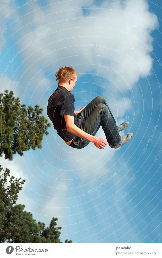 Human being Sky Youth (Young adults) Sun Tree Joy 18 - 30 years Young man Adults Freedom Happy Jump Party Flying Masculine Business