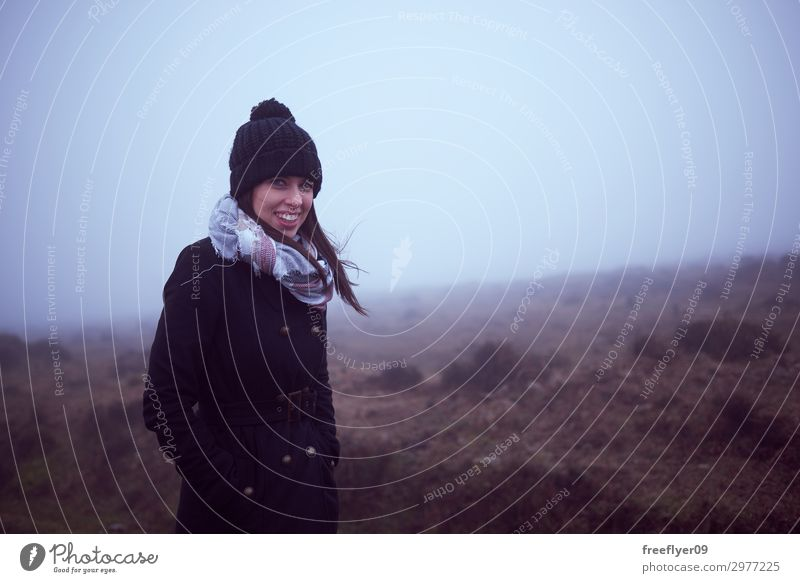 Portrait of a woman hiking with fog Style Leisure and hobbies Vacation & Travel Tourism Trip Adventure Sightseeing Expedition Winter Mountain Hiking Climbing