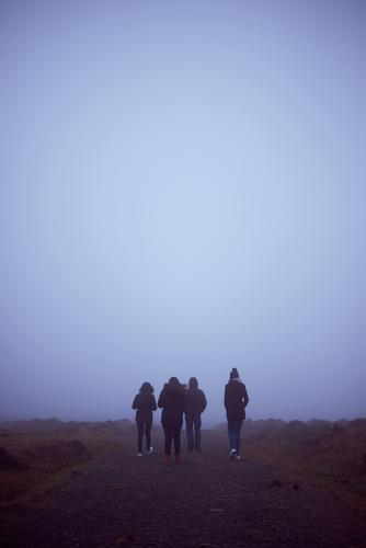 Four people hiking with fog Human being Sky Vacation & Travel Youth (Young adults) Summer White Joy Winter 18 - 30 years Lifestyle Adults Happy Copy Space Group