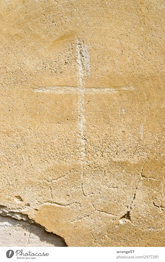Always on the wall along the cloister. Wall (barrier) Wall (building) Facade Stone Sign Graffiti Crucifix Brown Hope Belief Humble Religion and faith Building
