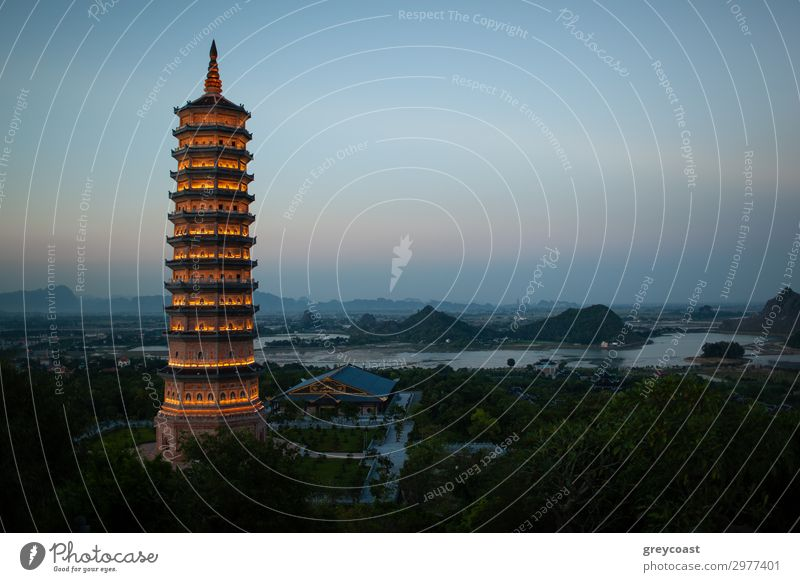 Evening view of Bai Dinh Pagoda in Ninh Binh, Vietnam Exotic Vacation & Travel Tourism Sightseeing Culture Landscape Sky Hill Building Architecture
