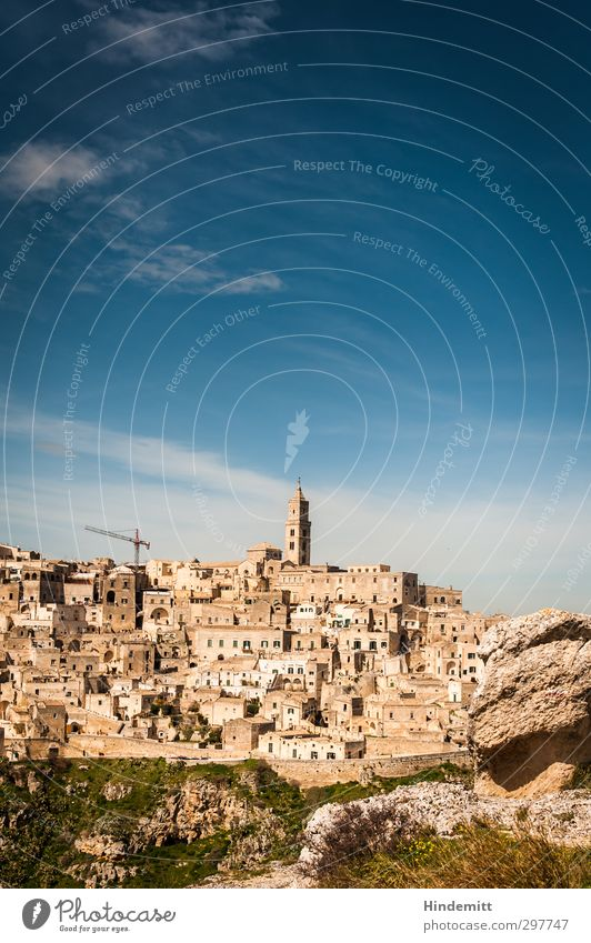 matera Sky Clouds Spring Beautiful weather Rock Canyon Matera province Italy Small Town Old town Skyline House (Residential Structure) Church Ruin