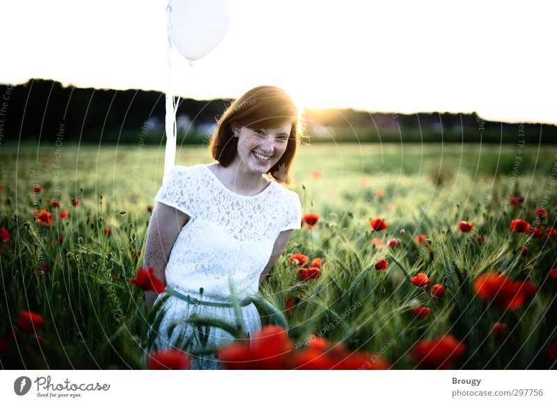 Radiant joy in red poppy seed Trip Summer Feminine Youth culture Nature Landscape Beautiful weather Blossom Balloon Laughter Dream Esthetic Happiness