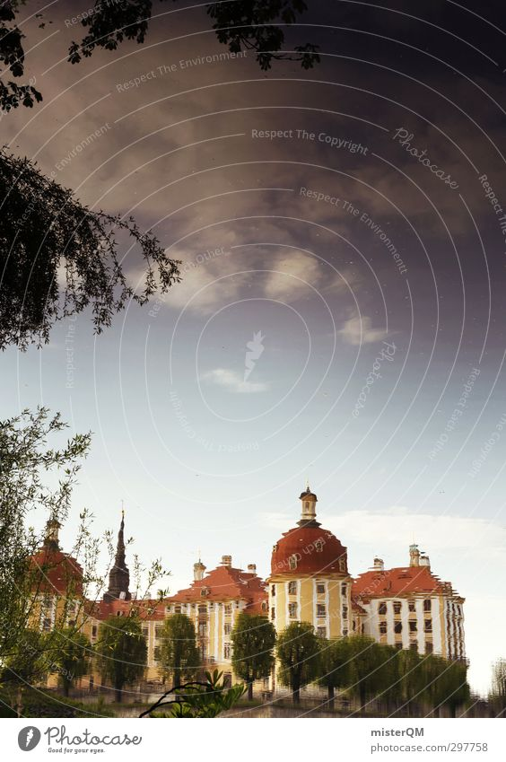 Lake Art Idyll Esthetic Culture Past Lock Surrealism Surface of water Saxony Illusion Mirror image Time travel Moritzburg Cultural monument Castle yard