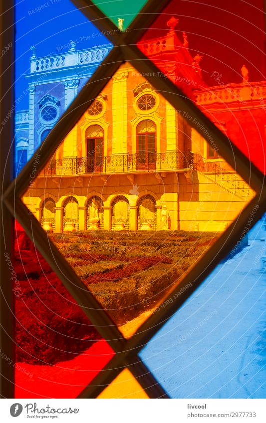 colored stained glass, estoi-portugal Old Colour Beautiful House (Residential Structure) Window Architecture Building Art Exceptional Retro Vantage point Europe