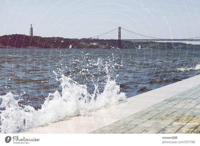 San Janeiro?! Art Esthetic Coast Tourist Attraction Lisbon Golden Gate Bridge Portugal To go for a walk Swell White crest Mediterranean Water Sea water