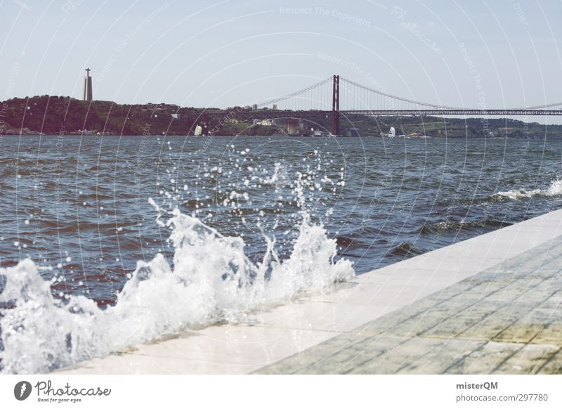 Water Coast Art Esthetic To go for a walk Bridge Tourist Attraction Mediterranean Portugal White crest Lisbon Swell Sea water Golden Gate Bridge