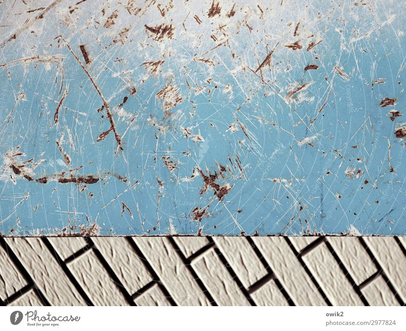La revedere Facade Trash container Wall (building) Metal Plastic Broken Blue Turquoise Derelict Scratch Ravages of time Rust Tracks Unclear Colour photo