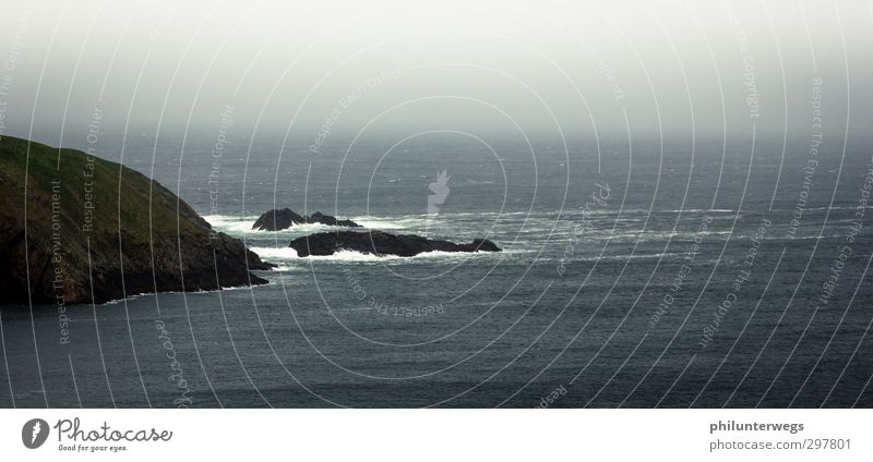 Nature Water Ocean Loneliness Environment Far-off places Dark Cold Autumn Coast Rock Rain Weather Waves Wind Wild