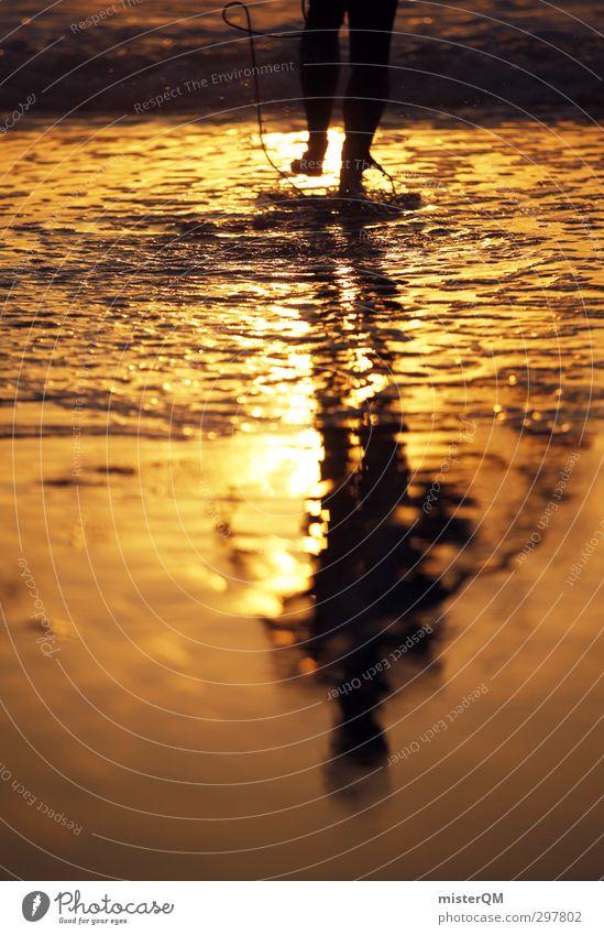 Golden Man. Art Esthetic Contentment Sea water Ocean Water Surfer Surfing Surfboard Surf school Summer vacation Mediterranean sea Romance Feet Beginning