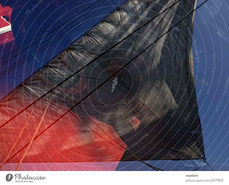 ahoy Means of transport Navigation Sailing ship Rope On board Blue Red Black Double exposure Stitching Dew Colour photo Exterior shot Deserted Day