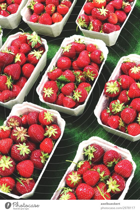fresh strawberries on the market Food Fruit Nutrition Vegetarian diet Shopping Healthy Eating Fresh Delicious Red Vitamin C Supermarket Store premises