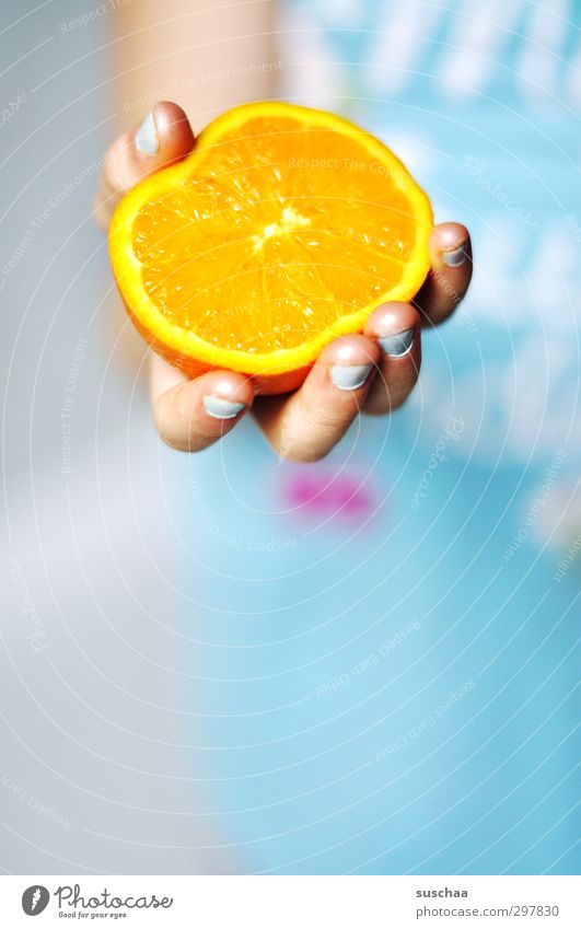 vitamin c II Child Infancy Orange Vitamin Hand Fingers Fresh Healthy Healthy Eating Organic produce Juicy Blue Health care Fruity Vitamin C Nutrition