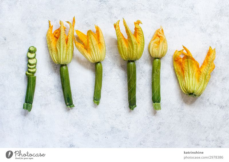 Young Zucchini With Flowers Vegetable Vegetarian diet Fresh Yellow Green White courgette Italian Farmers market orange Cut Cooking Culinary Harvest healthy