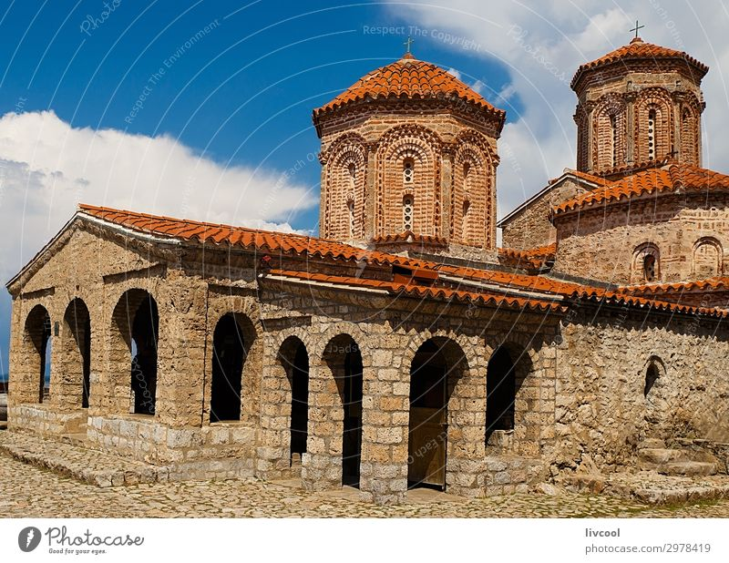 Naum Monastery, Macedonia - Europe Tourism Art Culture Sky Clouds Church Architecture Facade Roof Monument Stone Old Historic Beautiful Uniqueness Blue Red