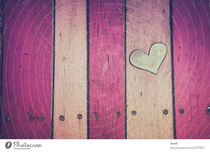 Love Wall (building) Emotions Wood Wall (barrier) Small Pink Facade Heart Design Lifestyle Decoration Cute Stripe Sign Romance