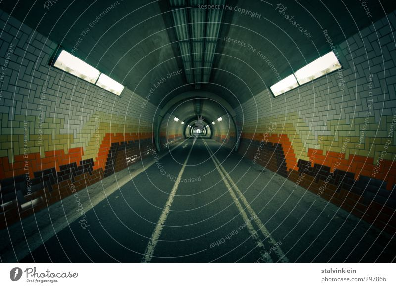 Bicycle and pedestrian tunnels Town Deserted Transport Traffic infrastructure Passenger traffic Cycling Pedestrian Tunnel Dirty Firm Infinity Cold End Symmetry