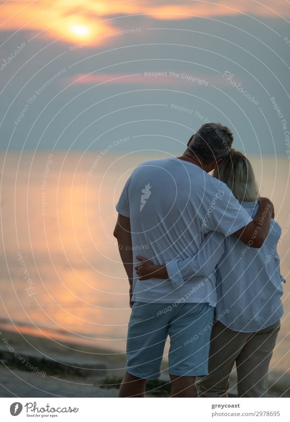 A middle-aged couple hugging each other and observing a sunset sea, we see them from the back Vacation & Travel Ocean Waves Human being Masculine Feminine