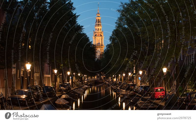 Night view of Amsterdam with canal and Zuiderkerk, Netherlands Vacation & Travel Tourism Sightseeing House (Residential Structure) Church Architecture Street