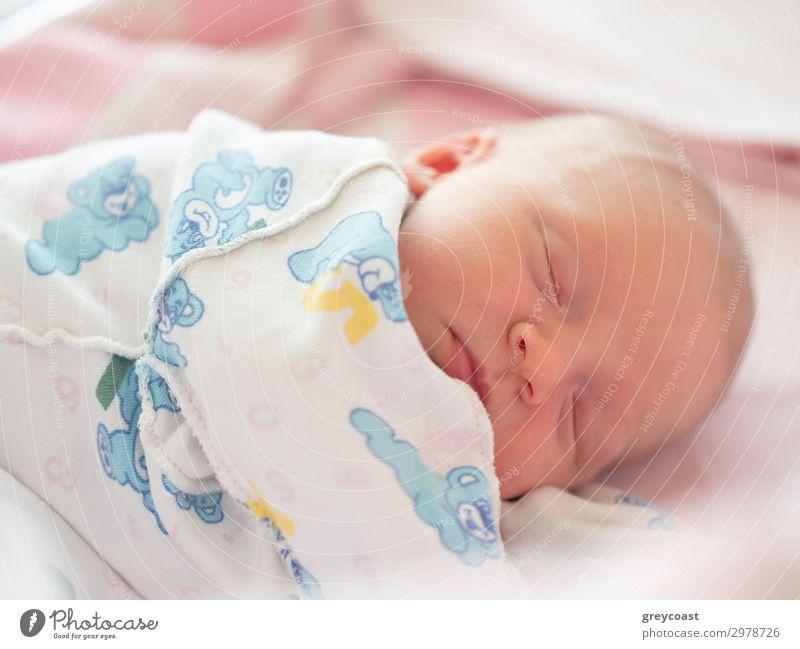 Close-up portrait of sleeping newborn baby in undershirt Face Calm Child Baby Boy (child) Sleep Dream Newborn asleep babyhood Daughter Son bed Sound girl