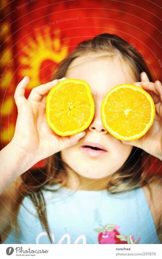 girl's face with orange halves in front of the eyes | vitamin c Child Infancy Joy Orange Eyeglasses Vitamin C fruit Multicoloured Face Healthy Healthy Eating