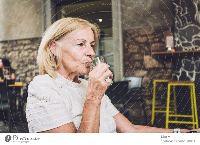 Lady in an Italian street cafe Lifestyle Vacation & Travel Female senior Woman 45 - 60 years Adults 60 years and older Senior citizen Town Blouse Blonde