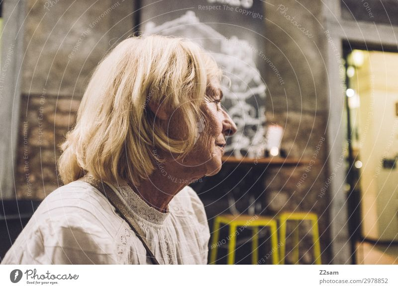 Lady in an Italian cafe Lifestyle Vacation & Travel Female senior Woman 60 years and older Senior citizen Town Port City Blonde Long-haired Observe Relaxation