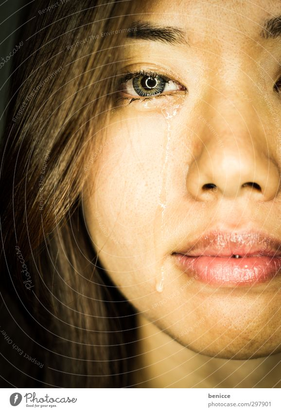 tear of fear Woman Human being Cry Sadness Tears Grief Drop Face Asians Chinese South East Asia Portrait photograph Close-up Eyes Looking into the camera