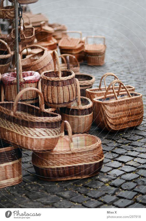 basket market Decoration Sell Brown Basket Wickerwork Basket maker Farmer's market Market stall Market trader Cobbled pathway Marketplace Stalls and stands