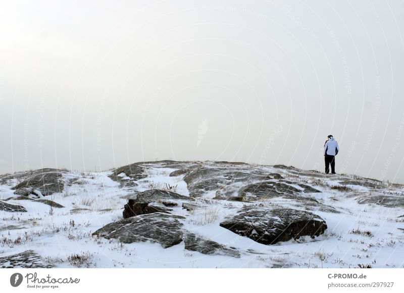What a view Human being Masculine Young man Youth (Young adults) Man Adults 1 18 - 30 years Landscape Winter Bad weather Rock Peak Baltic Sea Think Stand