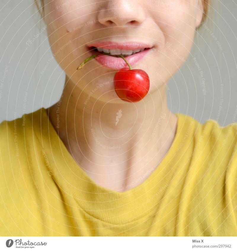 Human being Youth (Young adults) Red Young woman Face Adults Feminine Emotions 18 - 30 years Healthy Eating Moody Food Fruit Mouth