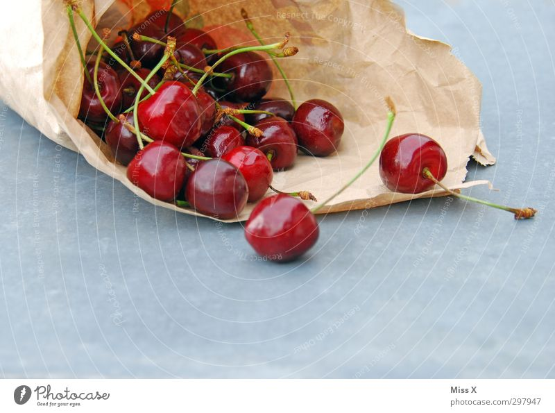 cherries Food Fruit Nutrition Picnic Organic produce Vegetarian diet Diet Fresh Healthy Delicious Juicy Sweet Red Cherry Paper bag Colour photo Multicoloured