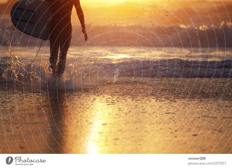 come ashore. Art Esthetic Contentment Gold Water Splash of water Surfing Surfer Surfboard Surf school Waves Wave break Vacation & Travel Vacation photo