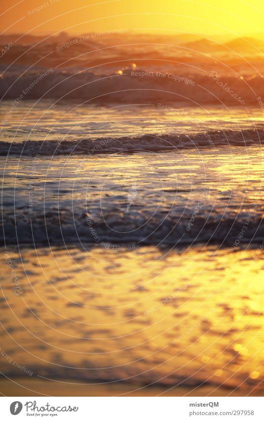 Golden Wide. Art Esthetic Contentment Sunset Waves Swell Undulation Wave action Wavy line Wave break Wave length Wave trough Crest of the wave Ocean