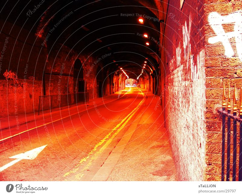 Red Street Orange Transport Empty Arrow Tunnel London