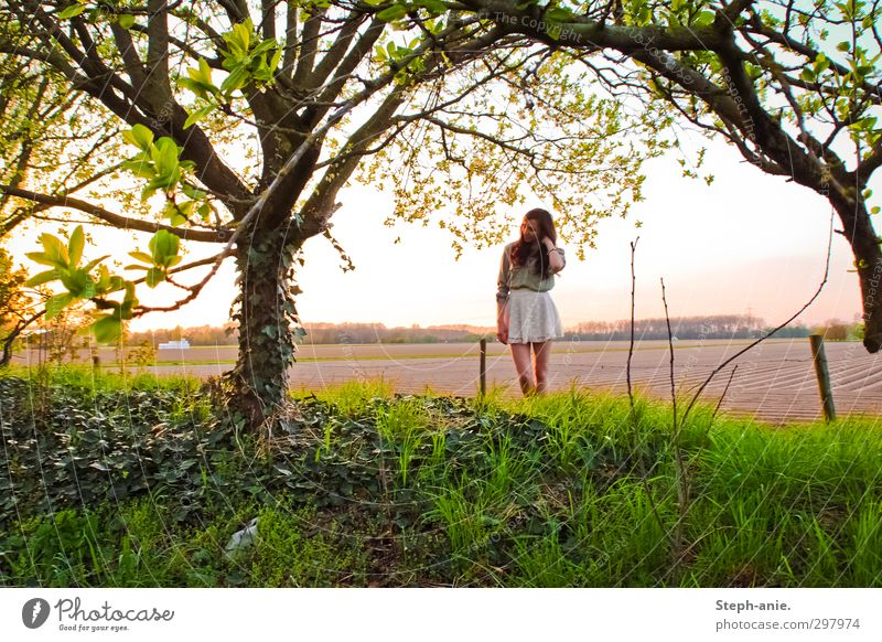 Human being Child Youth (Young adults) Green Beautiful Tree Landscape Relaxation Young woman Feminine Spring Happy Natural Dream Field Contentment