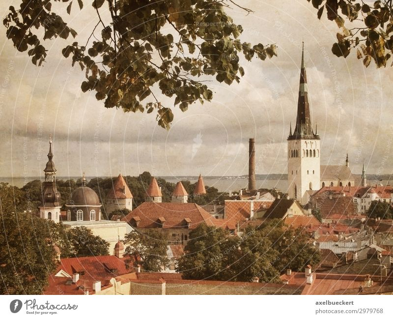 Tallinn Estonia in retro look Vacation & Travel Tourism Sightseeing City trip Town Capital city Downtown Old town Skyline House (Residential Structure) Church