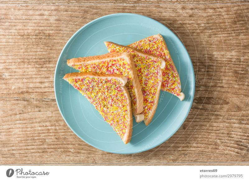 Traditional Australian fairy bread Bread Dessert Candy Jam Table Feasts & Celebrations Wood Delicious Pink anzac day australian culture Butter colorful Fairy