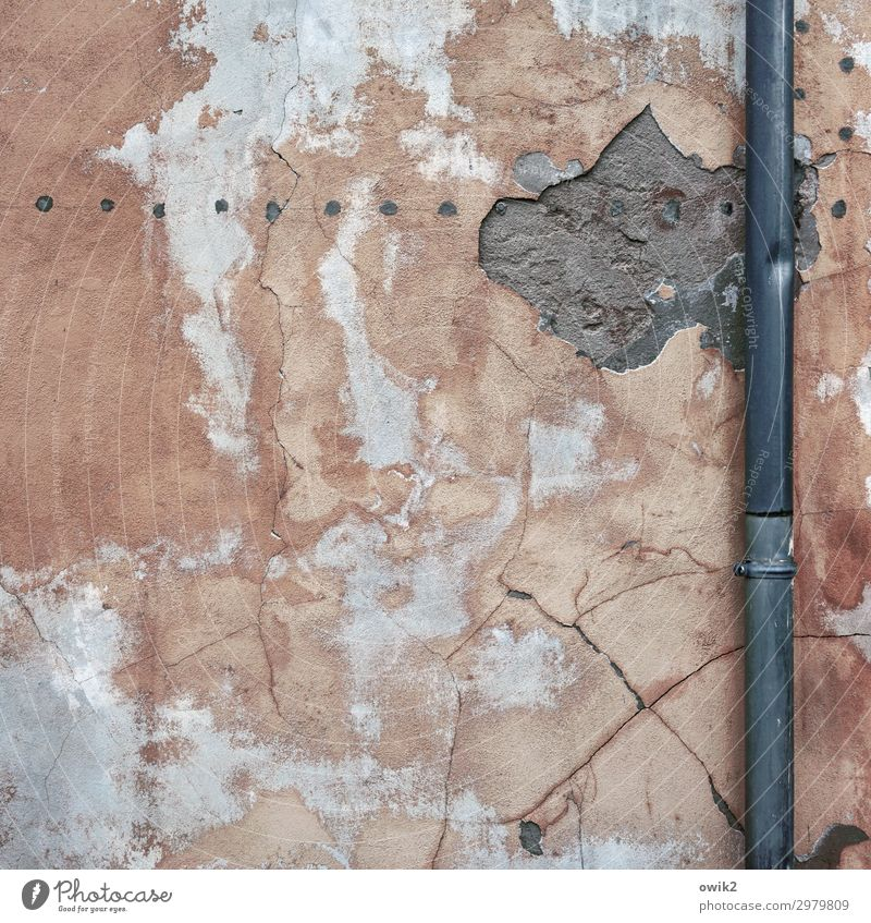 Freshly plastered Wall (barrier) Wall (building) Facade Rendered facade Plastered Eaves Concrete Old Colour photo Exterior shot Close-up Detail Deserted